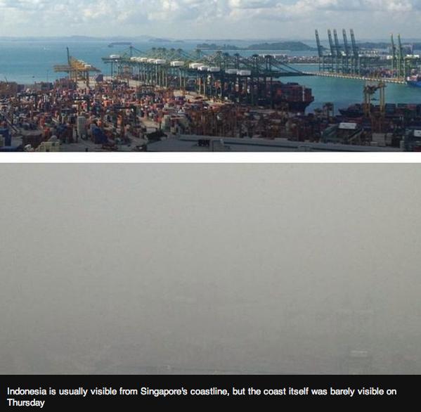 Le port de Singapour où l'on peut voir normalement les côtes indonésiennes au loin. Avant et pendant le haze ( jeudi 24/09)